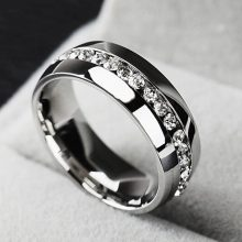 Titanium Stainless Steel Stone Ring for Wedding Ring (Women)
